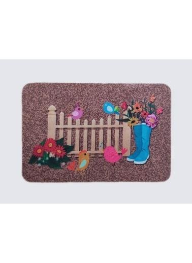 Giz Home Boyalı/Megan Kapı Paspası 40X60 Kahve Bahçe Renkli